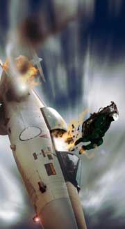 image of fighter pilot ejecting from plane