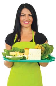 photo of woman holding food samples